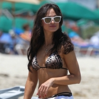 Karina Smirnoff in an animal print bikini at the beach in Miami